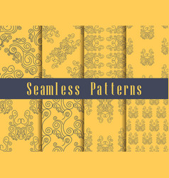 Vintage seamless pattern set baroque ornament vector