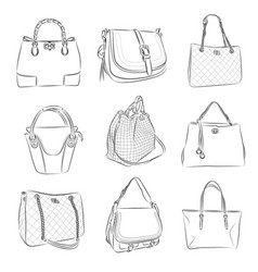 woman bag from thin lines vector image vector image