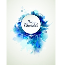 Merry christmas inscription on the abstract winter vector