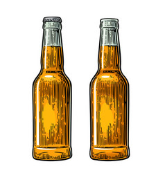 Open and close beer bottle vintage black and vector