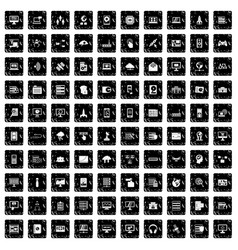 100 database and cloud icons set grunge style vector