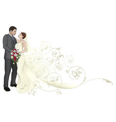 bride and groom embracing background pattern vector image