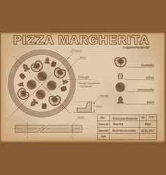 pizza margherita ingredients draw scheme vector image
