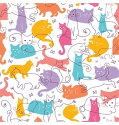 Colorful Cats Seamless Pattern Background vector image