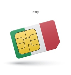 Italy mobile phone sim card with flag vector