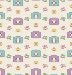 Seamless hipster background with cameras vintage vector