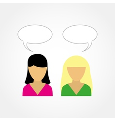 Two girls talking to each other vector