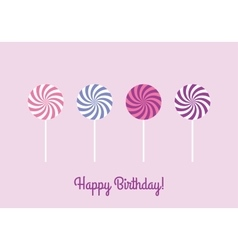 Birthday card with lollipops vector