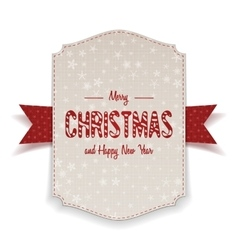Christmas realistic white banner with red ribbon vector