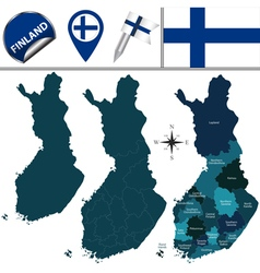 Finland map with named divisions vector