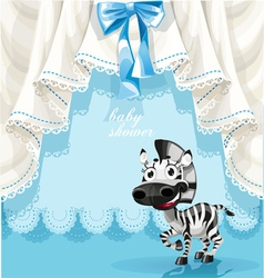 Blue baby shower card with cute little baby zebra vector