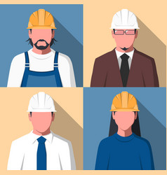 avatars of construction workers vector image vector image