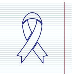 Black awareness ribbon sign navy line vector