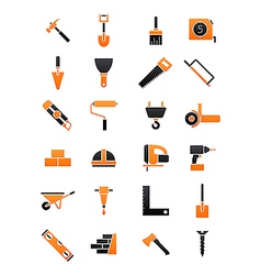Black orange contruction icons set vector image