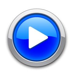 Blue play button vector