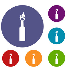 Burning bottle icons set vector