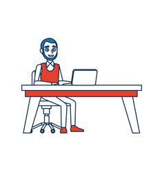 Business man sitting computer working desk vector