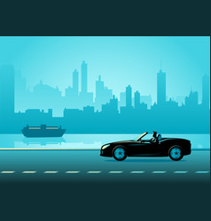 Businessman driving a convertible luxury car vector