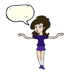 Cartoon confused pretty girl with speech bubble vector
