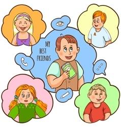 Children friendship cartoon concept vector