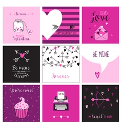Cute Valentines Day and Love Set - Set of Cards vector image