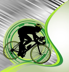 design template with cyclist silhouette vector image vector image