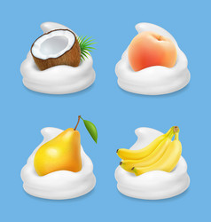 fruit and yogurt banana pear peach and coconut vector image vector image