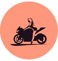 Girl on motorcycle vector