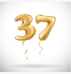 golden number 37 thirty seven metallic balloon vector image