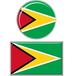 Guyana round and square icon flag vector
