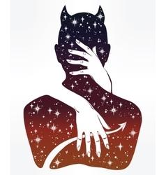 Hand drawn demon in a hug vector image vector image