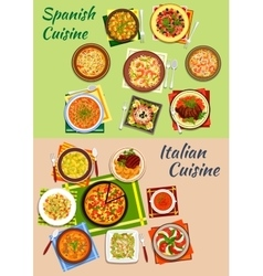 Italian and spanish cuisine fresh dinner icon vector
