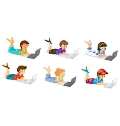 Laptops and Kids vector image vector image