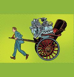 Manual labor vs mechanical rickshaw carries motor vector