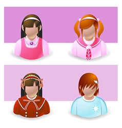 People Icons Girl and Teenage vector image vector image