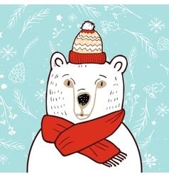 Polar bear in red hat vector