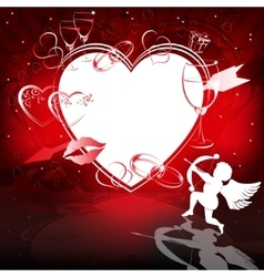 Red background with hearts and cupid vector