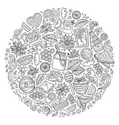 set of Honey cartoon doodle objects vector image