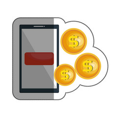 Smartphone with coins isolated icon vector