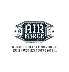 Stencil-plate serif font and air force emblem vector