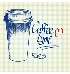 Take away coffee cup on notebook background vector