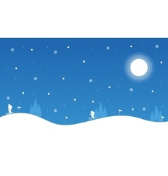 The winter christmas night people skiing vector