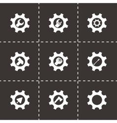 Tools in gear icon set vector