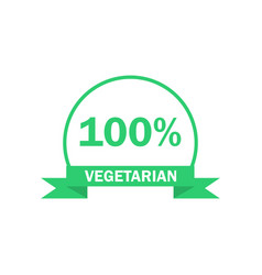 Vegetarian logo green food symbol label vector