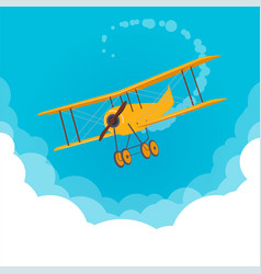 yellow airplane flying in a blue sky vector image vector image