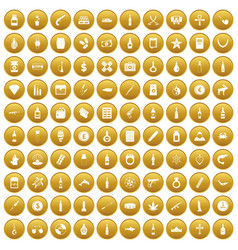 100 smuggling goods icons set gold vector
