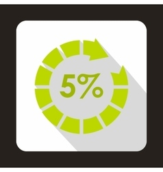 Circle loading 5 percent icon flat style vector