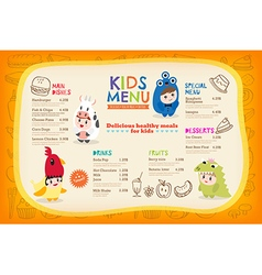 Cute colorful kids meal menu placemat vector