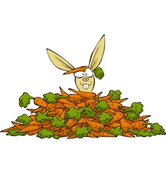 Rabbit in a pile of carrots vector