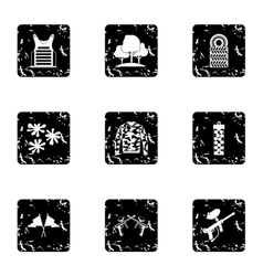 Shooting paintball icons set grunge style vector